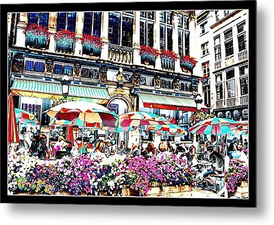 Sunny Day On The Grand Place Metal Print