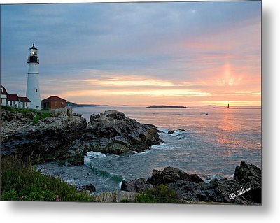Metal Print featuring the photograph Sunrise At Portland Head Lighthouse by Alana Ranney