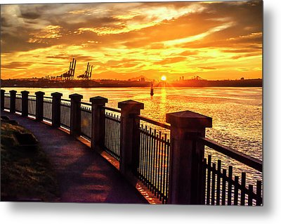 Metal Print featuring the photograph Sunrise At The Harbor by John Poon