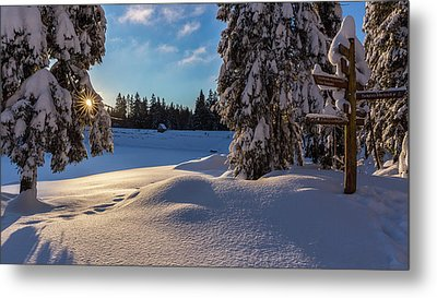 sunrise at the Oderteich, Harz Metal Print by Andreas Levi