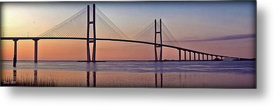 Sunrise At The Sidney Lanier Bridge Metal Print by Farol Tomson