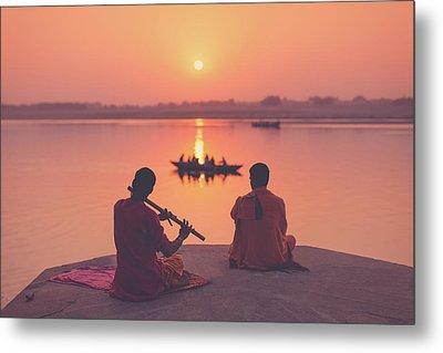 Sunrise By The Ganges Metal Print by Marji Lang