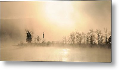 Sunrise On A Foggy Morning Metal Print by Louise Fahy