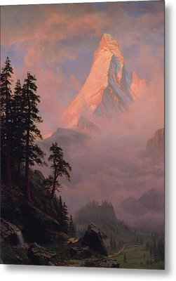 Metal Print featuring the painting Sunrise On The Matterhorn         by Albert Bierstadt