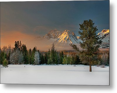 Sunrise Over Sawtooth Mountains Idaho Metal Print by Knowles Photography