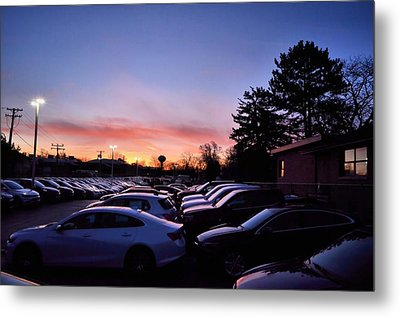 Sunrise Over The Car Lot Metal Print