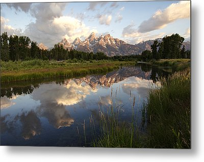 Sunrise Reflection At Schwabacher Landing  Metal Print by Paul Cannon