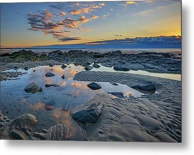 Sunrise Reflections On Wells Beach Metal Print by Rick Berk