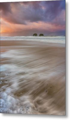 Metal Print featuring the photograph Sunrise Storm At Twin Rocks by Darren White