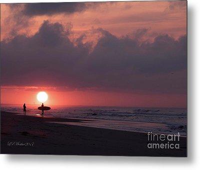 Sunrise Surfer Metal Print
