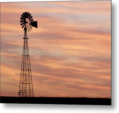 Sunset And Windmill 05 Metal Print