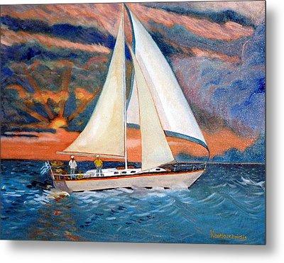 Sunset And Yacht Metal Print