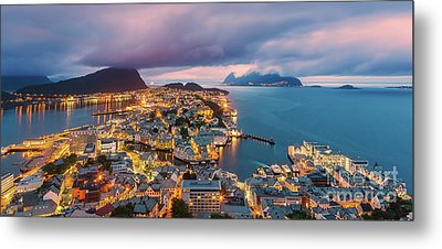 Sunset At Alesund, Norway Metal Print by Henk Meijer Photography