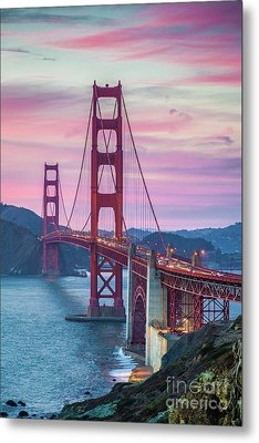 Sunset At The Golden Gate Metal Print by JR Photography
