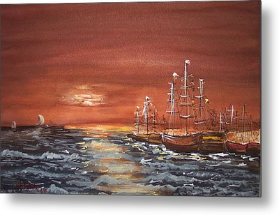 Sunset At The Harbor Metal Print by Miroslaw  Chelchowski