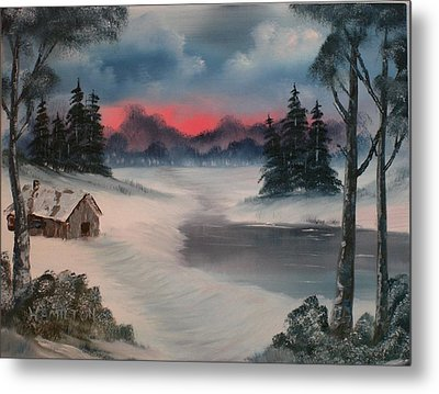 Sunset By The Lake Metal Print by Larry Hamilton
