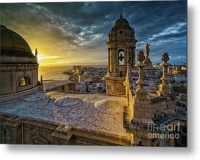 Metal Print featuring the photograph Sunset In Cadiz Cathedral View From Levante Tower Cadiz Spain by Pablo Avanzini
