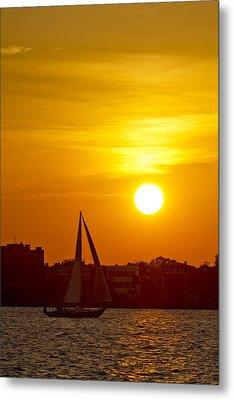 Sunset In Charleston South Carolina Sailboat Metal Print by Dustin K Ryan
