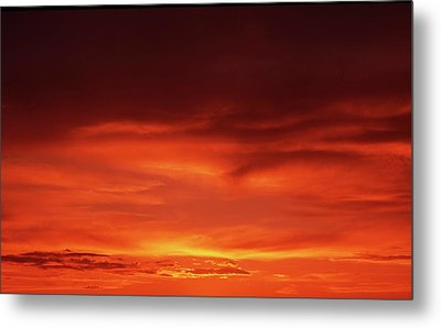 Metal Print featuring the photograph Sunset In Orange by Edward R Wisell