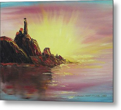 Sunset In Rocks Metal Print