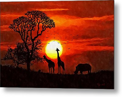 Sunset In Savannah Metal Print