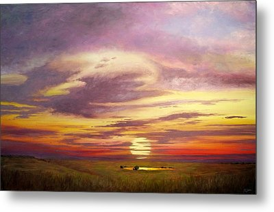 Sunset In The Flint Hills Metal Print by Rod Seel