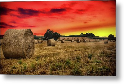 Sunset In The Hay Metal Print