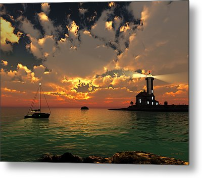 Sunset Lighthouse Metal Print by Jim Coe