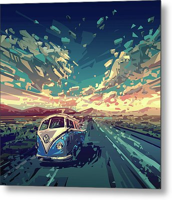Sunset Oh The Road Metal Print