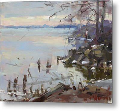 Sunset On Fishermans Park - North Tonawanda Metal Print
