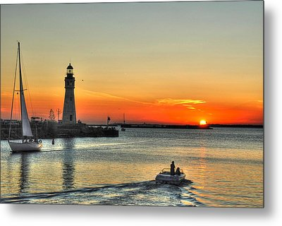 Sunset On Lake Erie Metal Print