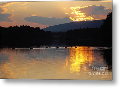 Sunset On The Lake Metal Print by Vilas Malankar