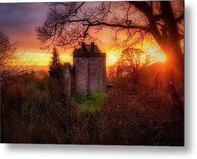 Metal Print featuring the photograph Sunset Over Castle Campbell In Scotland by Jeremy Lavender Photography