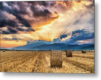 Sunset Over Farm Field With Hay Bales Metal Print