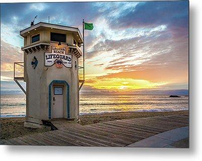 Metal Print featuring the photograph Sunset Over Laguna Beach Lifeguard Station by Cliff Wassmann