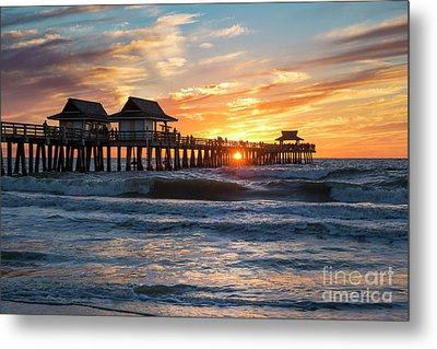 Metal Print featuring the photograph Sunset Over Naples Pier by Brian Jannsen
