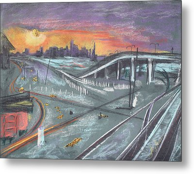 Sunset Over San Francisco And Oakland Train Tracks Metal Print by Asha Carolyn Young