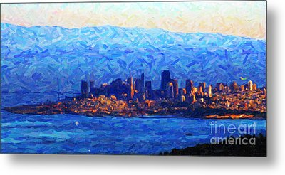 Sunset Over San Francisco Bay Metal Print by Wingsdomain Art and Photography