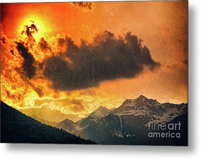 Metal Print featuring the photograph Sunset Over The Alps by Silvia Ganora