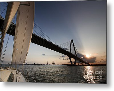 Sunset Over The Cooper River Bridge Charleston Sc Metal Print by Dustin K Ryan