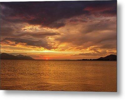 Sunset Over The Sea, Opuzen, Croatia Metal Print