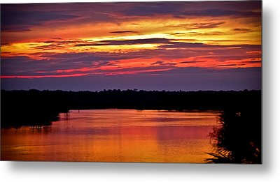 Sunset Over The Tomoka Metal Print by DigiArt Diaries by Vicky B Fuller