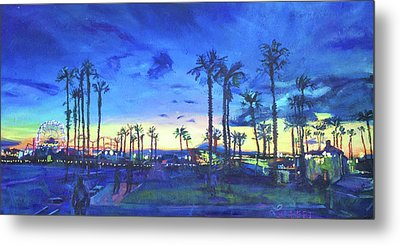 Sunset Palms Santa Monica Metal Print