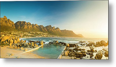 Sunset Panorama Of Camps Bay In South Africa Metal Print by Tim Hester
