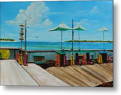 Sunset Pier Tiki Bar - Key West Florida Metal Print by Lloyd Dobson
