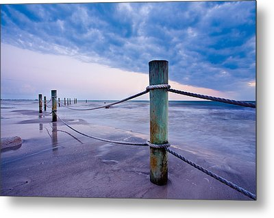 Sunset Reef Pilings Metal Print
