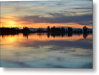 Sunset Reflections Metal Print by AJ Schibig