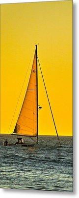 Sunset Sailing Metal Print by Liz Vernand