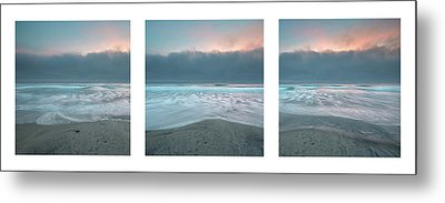 Metal Print featuring the photograph Sunset With Marine Layer Triptych by Alexander Kunz