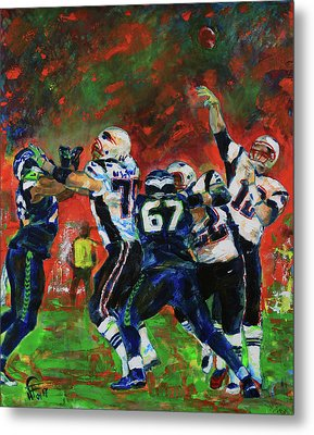 Metal Print featuring the painting Super Bowl 49 by Walter Fahmy